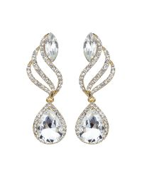 Mikey | Metallic Twisted Drop Large Crystal Earring | Lyst