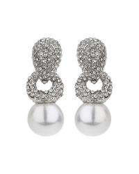 Mikey | Multicolor Twisted Rope Pearl Drop Crystal Earring | Lyst