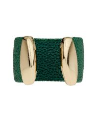 Mikey | Green Heart On Leather Cuff | Lyst
