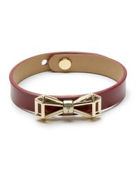 Ted Baker | Red Addaley Geometric Bow Leather Bracelet | Lyst