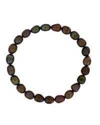 Azendi | Black Olive Green Pearl Stretch Bracelet | Lyst