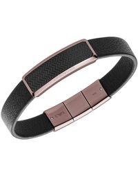 Emporio Armani - Men's Black/brown-plated Steel Leather Bracelet Egs2249 for Men - Lyst