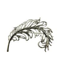 Indulgence Jewellery - Metallic Rhodium Plated Feather Brooch - Lyst