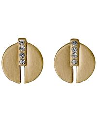 Pilgrim - Metallic Gold Colour With Crystals Earrings - Lyst