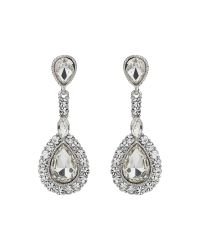 Mikey - White Oval Stone Large Surround Drop Earring - Lyst
