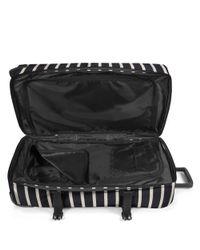 Eastpak - Black Tranverz Large Gingham Stripe Wheeled Suitcase - Lyst