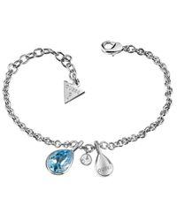 Guess | Metallic Santorini Ubb83039-l Blue Drop Bracelet | Lyst