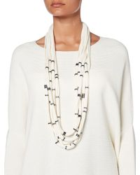 Crea Concept - White Multi Strand Knitted Necklace - Lyst