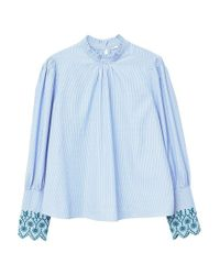 Mango - Blue Striped Embroidery Blouse - Lyst