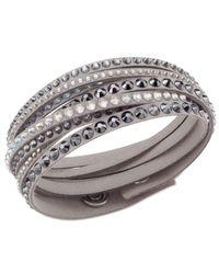 Swarovski   Gray Golden Fabric Crystal Stud Wrap Bracelet   Lyst