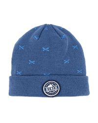 Bench - Blue Turn Up Embroidered Beanie for Men - Lyst