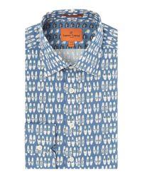 Simon Carter - Blue Shoe Print Shirt for Men - Lyst