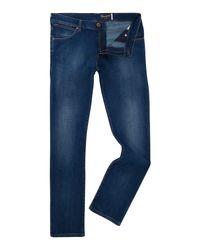 Wrangler - Blue Larston Slim Fit Light Wash Jeans for Men - Lyst