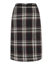 Tahari - Multicolor Plaid Boucle Skirt With Velvet Trim - Lyst