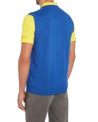 Bobby Jones - Blue Solid Merino V Neck Vest for Men - Lyst