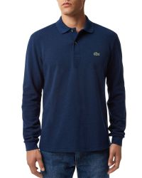 Lacoste   Blue Classic Long Sleeved Marl Polo Shirt for Men   Lyst