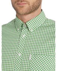 Ben Sherman - Green Classic Gingham Check Long Sleeve Shirt for Men - Lyst