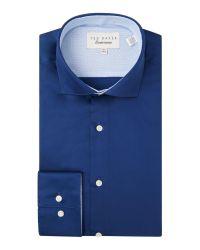 Ted Baker | Blue Rosest Slim Fit Plain Poplin Shirt for Men | Lyst