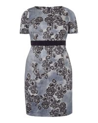Marina Rinaldi | Blue Dry Short Sleeve Floral Shift Dress | Lyst