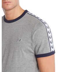 Fred Perry - Gray Plain Crew Neck Regular Fit T-shirt for Men - Lyst
