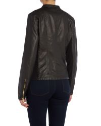 Andrew Marc | Black Pu Jacket With Asymetric Zip | Lyst