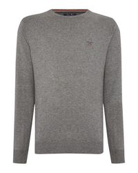 GANT | Gray Crew Neck Cotton Wool Jumper for Men | Lyst