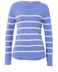 Basler | Blue Striped Sweater With Decorative Detail | Lyst