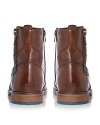 Dune | Brown Cackle Toecap Side Zip Leather Boot for Men | Lyst