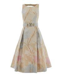 Eliza J - Multicolor Jacquard Fit And Flare Midi Dress - Lyst