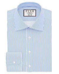 Thomas Pink | Blue Grant Stripe Slim Fit Button Cuff Shirt for Men | Lyst