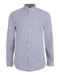 TOPMAN | Blue Long Sleeve Gingham Button Down Shirt for Men | Lyst
