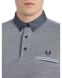 Fred Perry | Gray Woven Collar Pique Shirt for Men | Lyst
