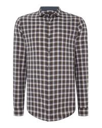 Michael Kors | Natural Slim Fit Mini Collar Plaid Check Shirt for Men | Lyst