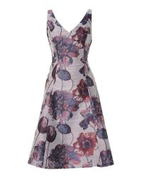 Adrianna Papell | Purple Floral Jacquard Fit And Flare Dress | Lyst