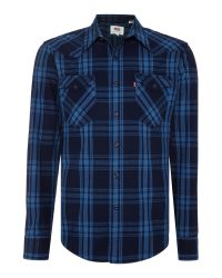 Levi's | Blue Slim Fit Barstow Western Check Shirt for Men | Lyst