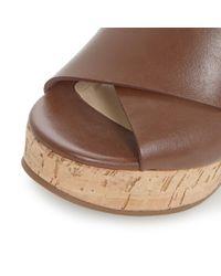 Dune Black - Brown Karta Cross Strap Wedge Sandals - Lyst
