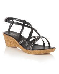 Lotus | Black Merida Strappy Wedge Sandals | Lyst