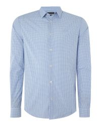 Armani Jeans   Blue Regular Fit Small Check Shirt for Men   Lyst