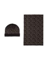 Calvin Klein | Black Logo Hat And Scarf Gift Set | Lyst