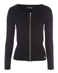 Jane Norman | Black Zip Up Ribbed Cardigan | Lyst