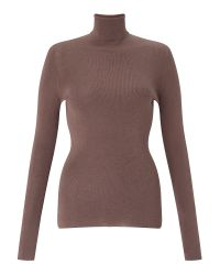 Jigsaw - Brown Silk Cotton Polo Neck Sweater - Lyst