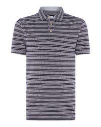 Howick | Blue Monroe Textured Stripe Short Sleeve Polo for Men | Lyst