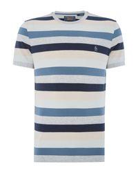 Original Penguin | Blue Block-stripe Crew-neck T-shirt for Men | Lyst
