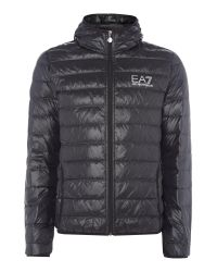 EA7 | Black Train Core-id Hooded Down Jacket for Men | Lyst