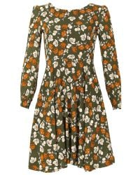 Tenki | Green Full Sleeve Floral Skater Dress | Lyst