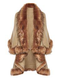 Coast | Brown Kate Faux Fur Cape | Lyst