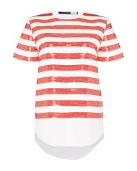 Sportmax Code - Red Maiorca Short Sleeve Striped Top With Shirt Hem - Lyst