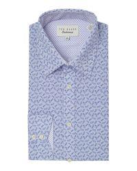 Ted Baker | Blue Muse Ditsy Leaf Print Shirt for Men | Lyst