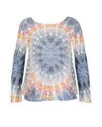 Izabel London | Blue Net Trapeze Top With Knit Sleeves | Lyst
