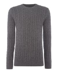 Barbour | Gray Wool Cotton Cable Jumper for Men | Lyst